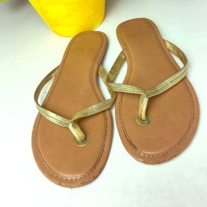Banana Republic  Leather Gold Flip flop Sandals